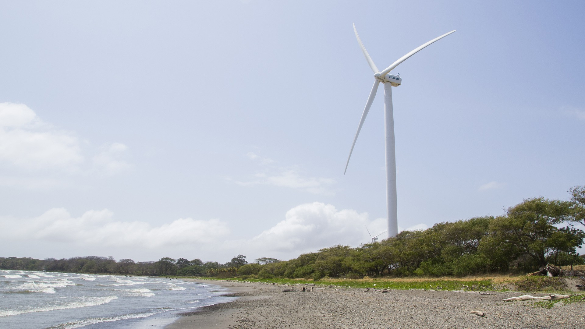 An Amayo turbine spins near Lake Nicaragua. This is one of the most active turbines because two volcanoes across the lake tunnel wind toward it. (Photo by Danika Worthington)