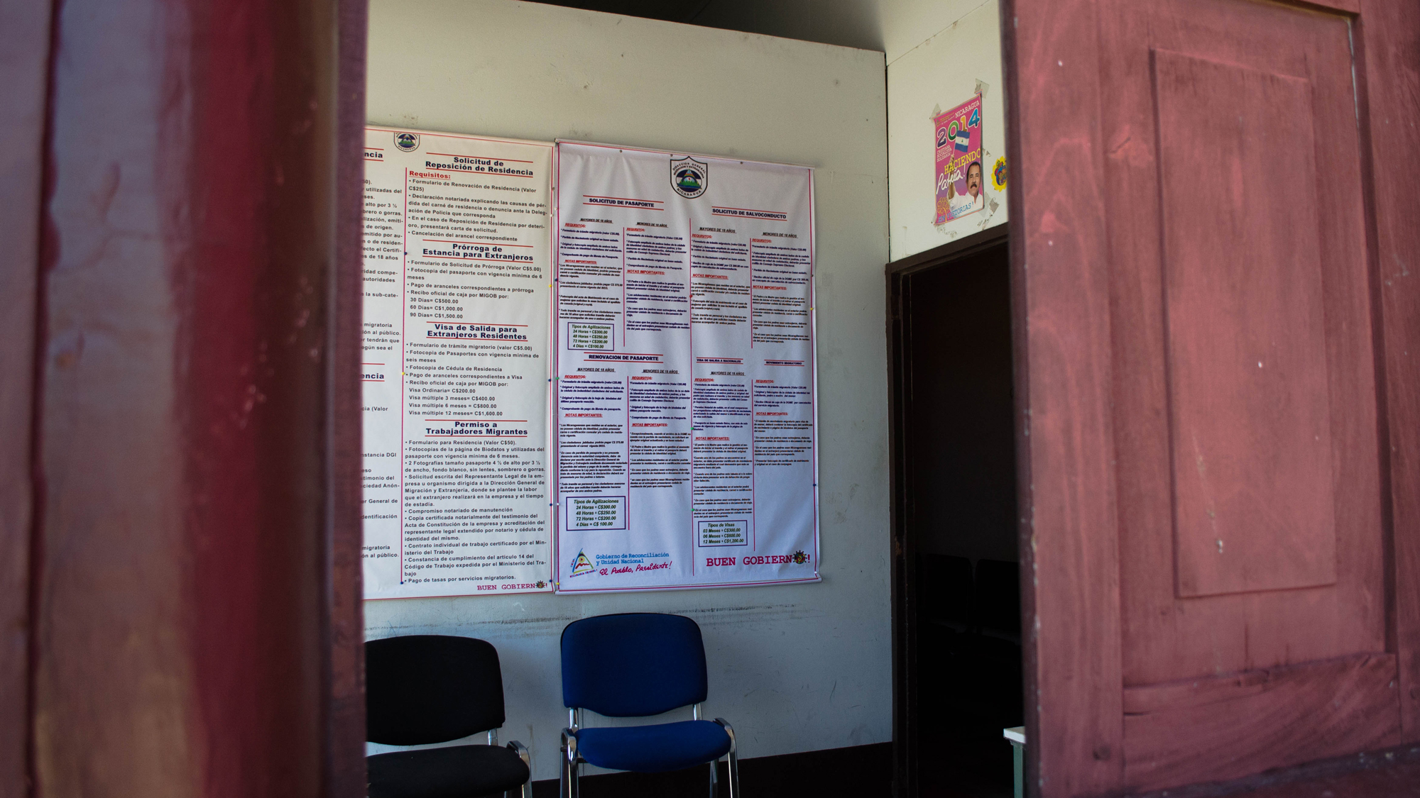 The waiting room is empty at the Directorate General of Immigration in Granada, Nicaragua. The main offices are located in Managua. (Photo by Amanda LaCasse)