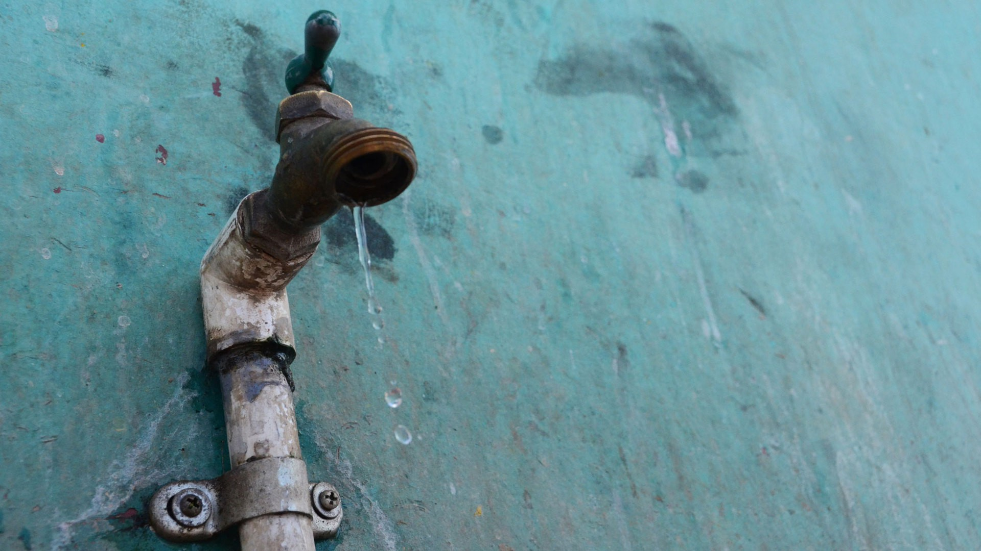 Water drips from a faucet on the island of Ometepe, which relies entirely on the lake for its water supply. (Photo by Cydney McFarland)