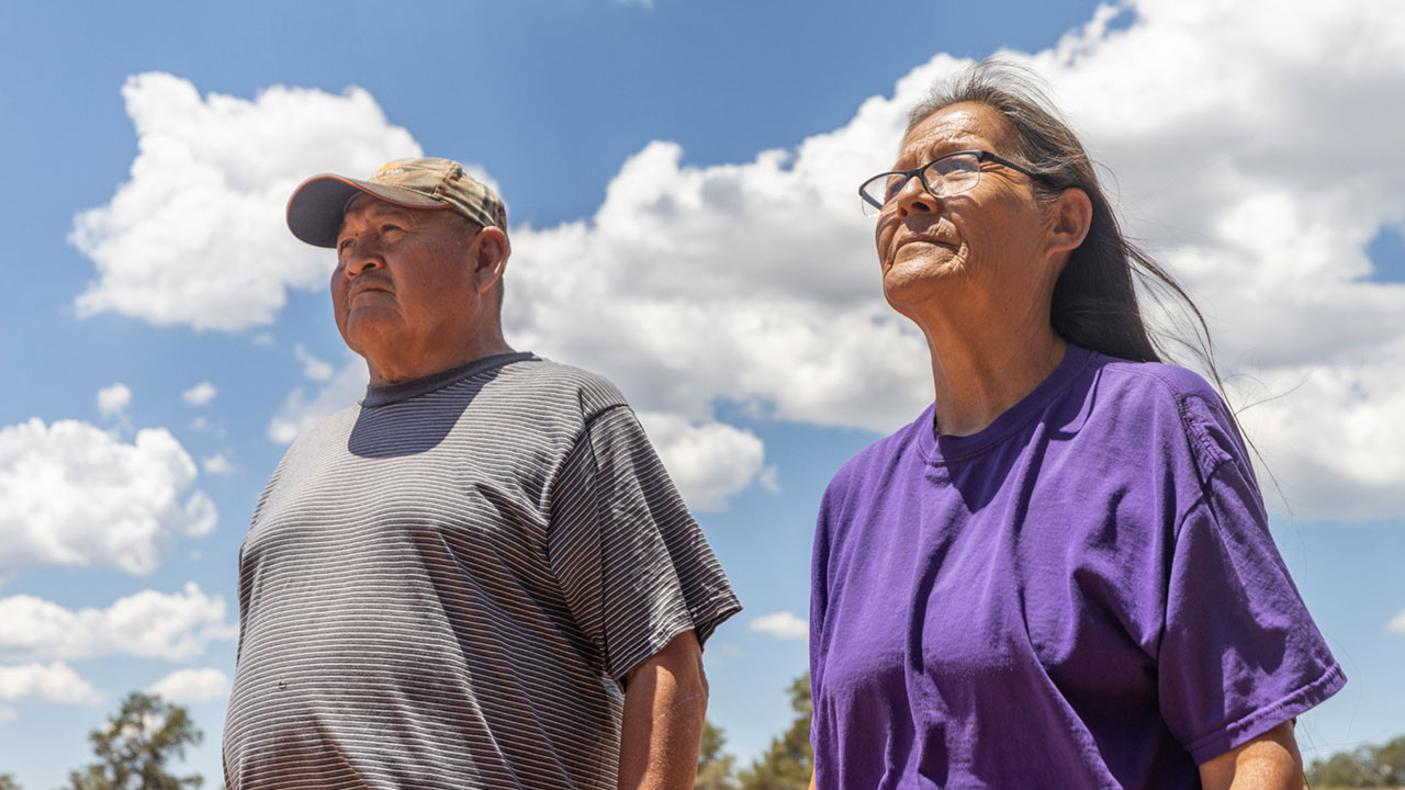 Alice Watchman and brother Leonard Watchman at her farm near Sawmill, Ariz., on the Navajo Nation on July 8, 2021.