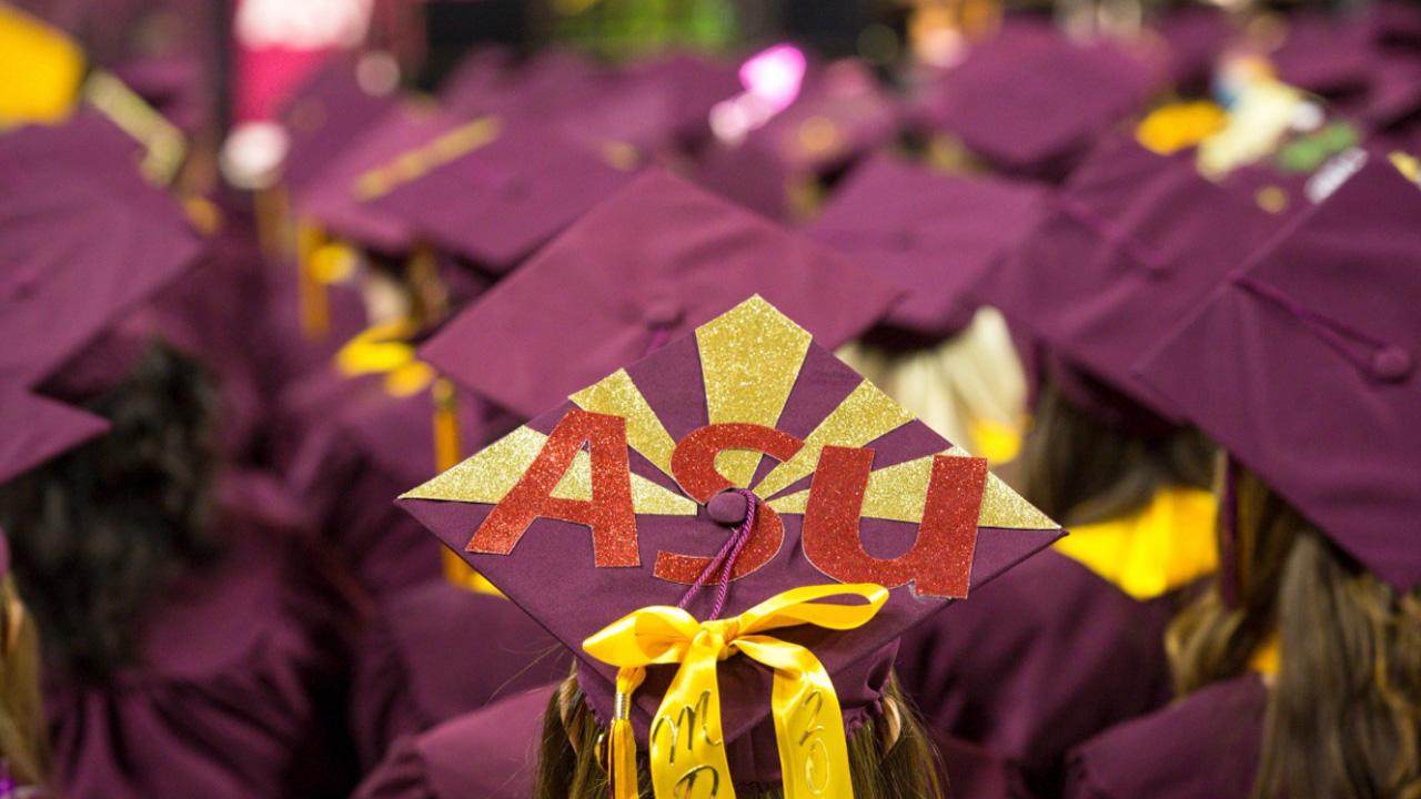 Maroon graduation caps.