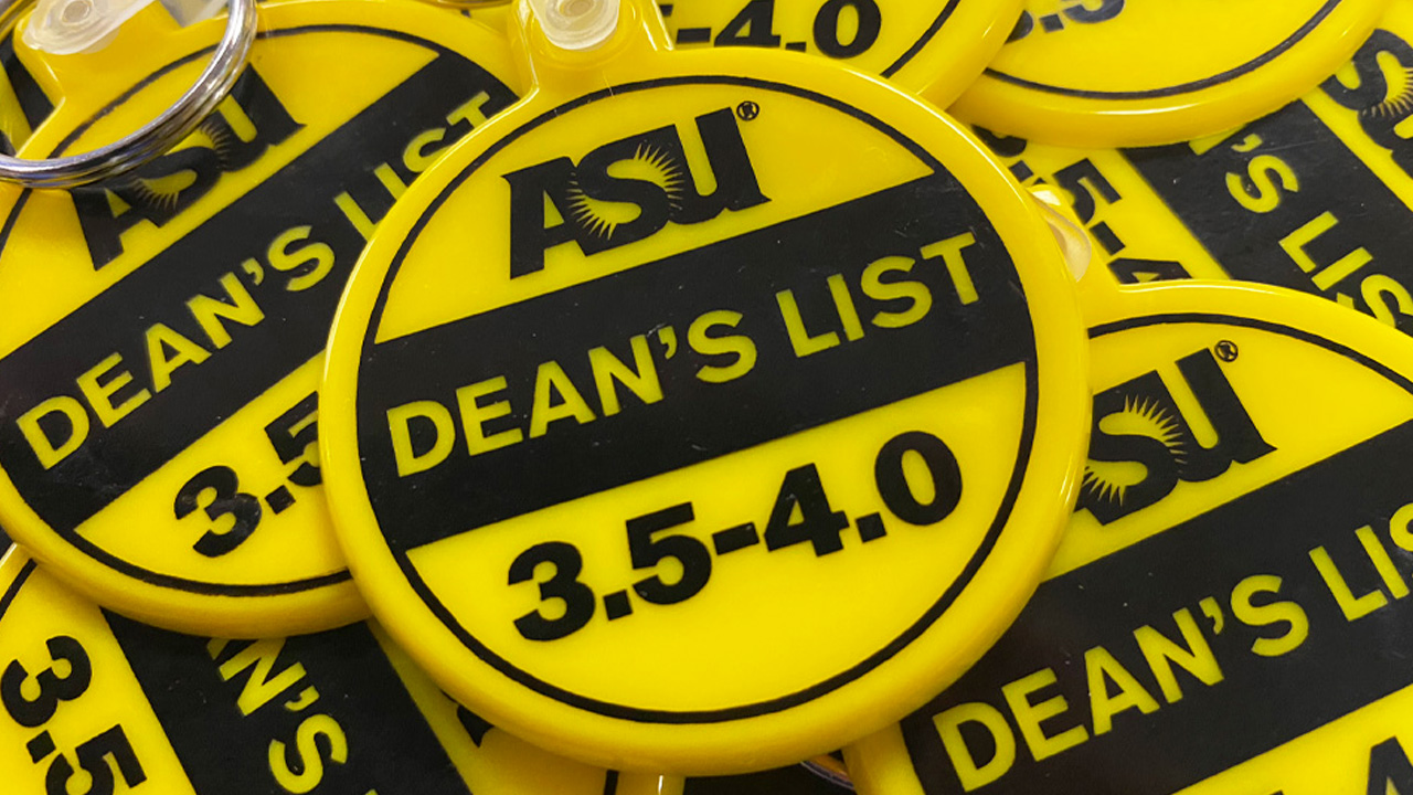 Keychains to celebrate dean's list honorees.